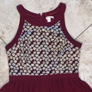 Maroon dress with flowers on top
